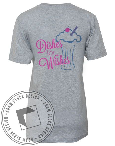 Chi Omega Dishes for Wishes V-Neck-Adam Block Design