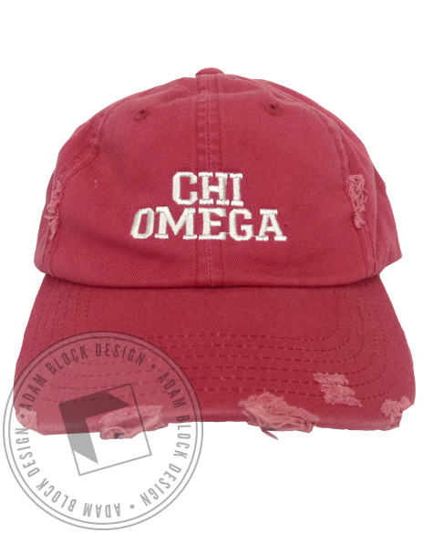 Chi Omega Distressed Hat-Adam Block Design