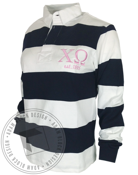 Chi Omega Embroidered Rugby Tee-Adam Block Design