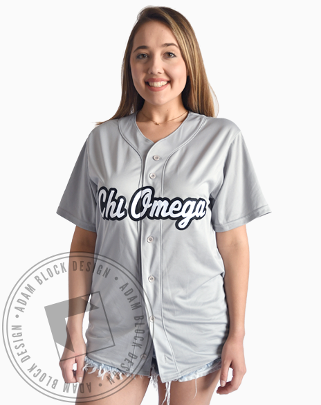 Chi Omega Fabric Script Baseball Jersey-Adam Block Design