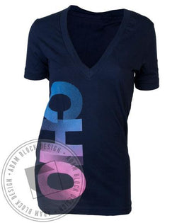 Chi Omega Fade V-Neck-gallery-Adam Block Design