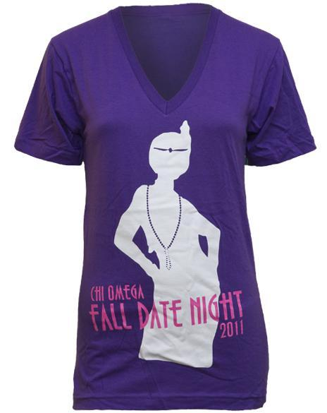 Chi Omega Fall Date Night V-neck-Adam Block Design