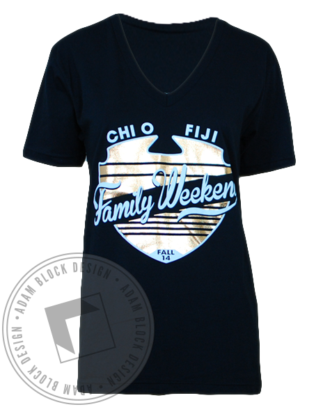 Chi Omega Family Weekend Tradition V-Neck-Adam Block Design