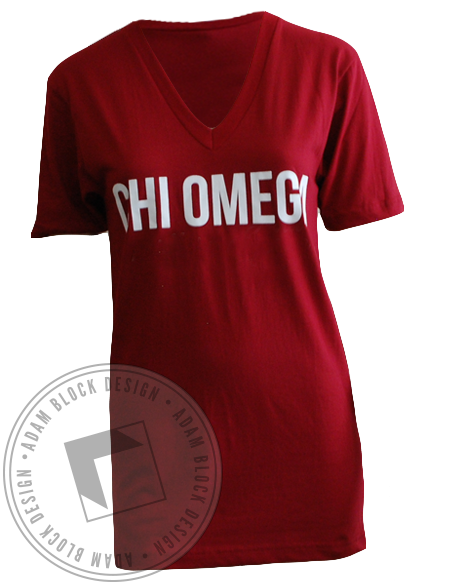 Chi Omega Family Weekend V-Neck-Adam Block Design