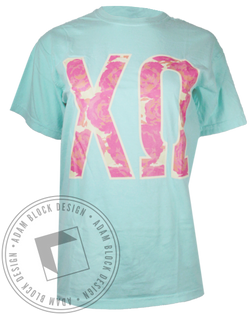 Chi Omega Floral Greek Letters Tshirt-gallery-Adam Block Design