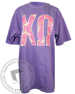 Chi Omega Floral Sorority Letters Tshirt-gallery-Adam Block Design