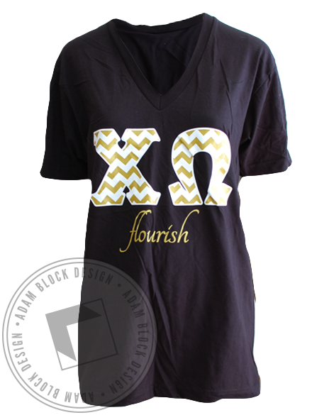 Chi Omega Flourish V-neck-gallery-Adam Block Design