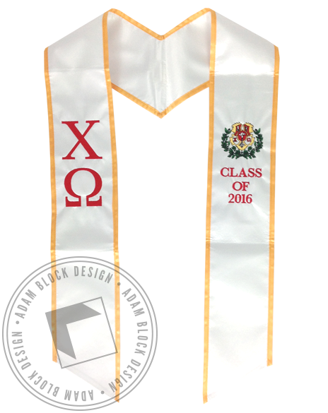 Chi Omega Graduation Stole-Adam Block Design