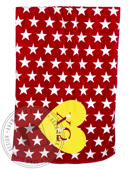 Chi Omega Heart And Stars Beach Towel-gallery-Adam Block Design