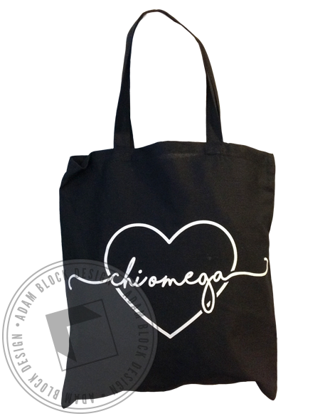 Chi Omega Heart Script Tote Bag-Adam Block Design