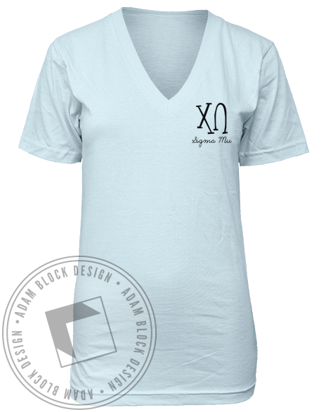 Chi Omega Letter Make a Wish V-Neck-gallery-Adam Block Design