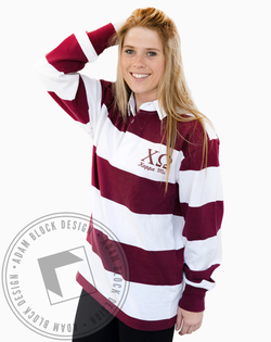 Chi Omega Letter Rugby Tee-gallery-Adam Block Design