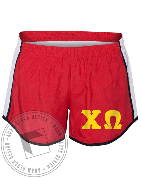 Chi Omega Letters Running Shorts-gallery-Adam Block Design