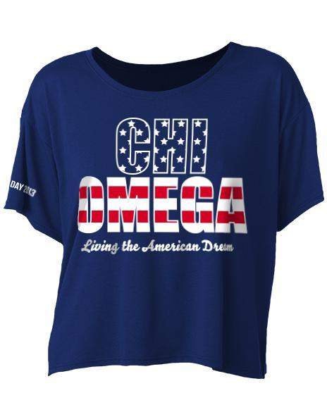 Chi Omega Living The American Dream Crop Top-Adam Block Design