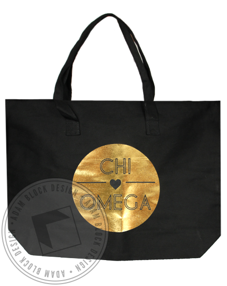 Chi Omega Love Gold Foil Tote Bag-Adam Block Design