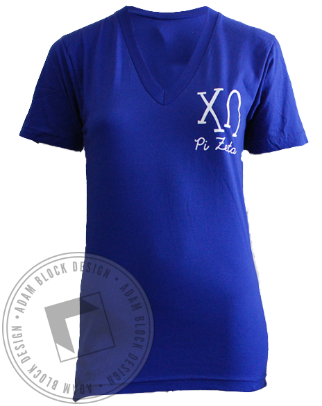 Chi Omega Make-A-Wish V-Neck Tee-gallery-Adam Block Design