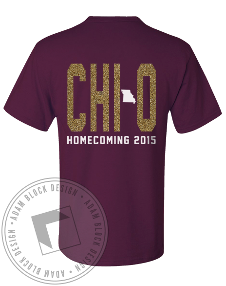 Chi Omega Missouri Homecoming Tshirt-Adam Block Design
