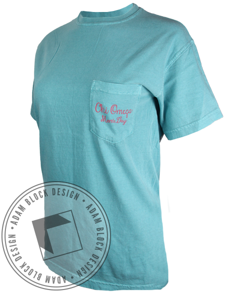 Chi Omega Mom's Day Pocket Tee-Adam Block Design