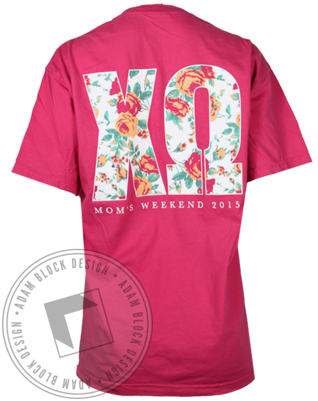 Chi Omega Mom's Weekend Pocket Tee-Adam Block Design