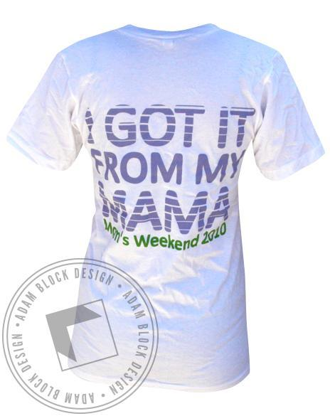 Chi Omega Mom's Weekend V-Neck-Adam Block Design