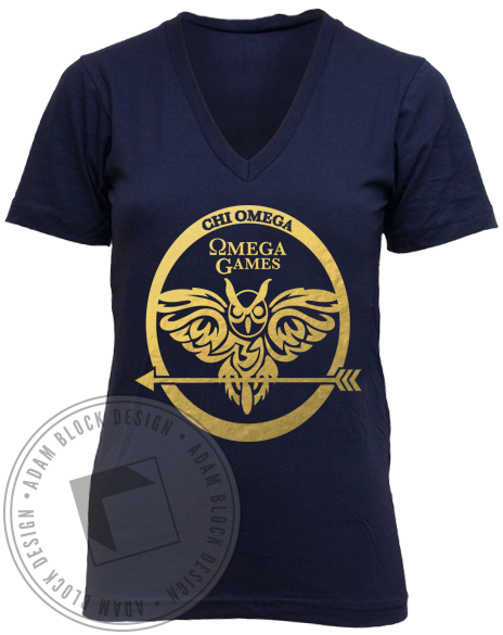 Chi Omega Omega Games V-neck-gallery-Adam Block Design