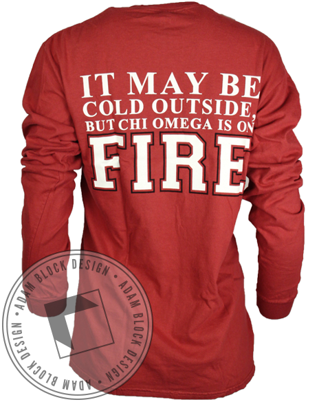 Chi Omega On Fire Long Sleeve-Adam Block Design