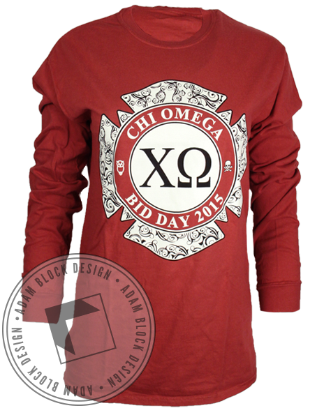 Chi Omega On Fire Long Sleeve-gallery-Adam Block Design