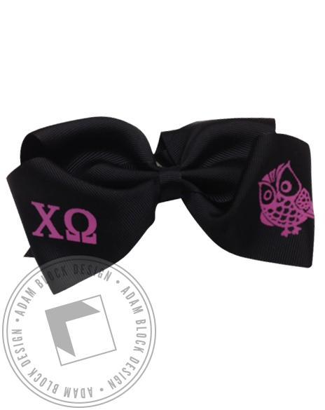 Chi Omega Owl Hair Bow-gallery-Adam Block Design