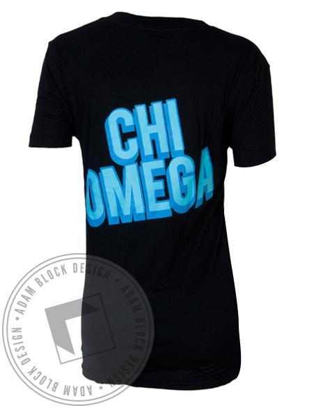 Chi Omega Owl V-Neck-gallery-Adam Block Design