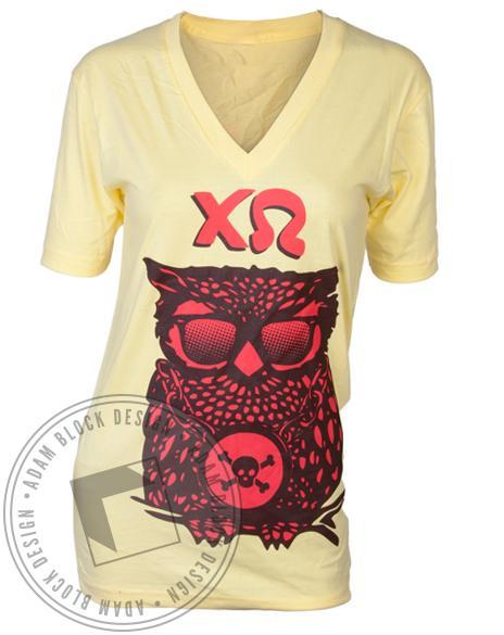 Chi Omega Owl Yellow V-Neck-gallery-Adam Block Design