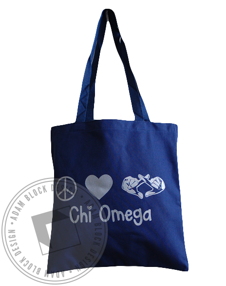 Chi Omega Peace and Love Tote-gallery-Adam Block Design