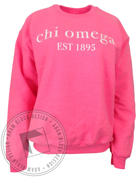 Chi Omega Pink Sweatshirt-Adam Block Design
