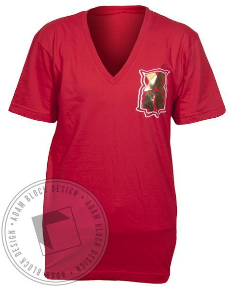 Chi Omega Pocket Owl V-Neck-Adam Block Design