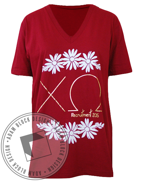 Chi Omega Recruitment Red V-Neck-gallery-Adam Block Design