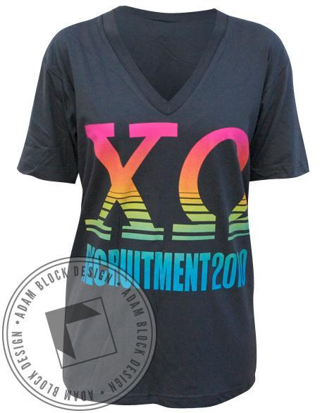 Chi Omega Recruitment V-Neck-Adam Block Design