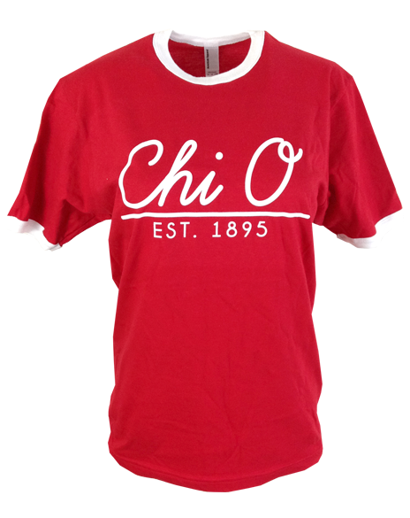 Chi Omega Red Ringer Tee-Adam Block Design