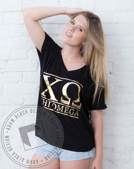 Chi Omega Simple Foil Tee-Adam Block Design