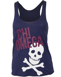 Chi Omega Skull Blue Tank-Adam Block Design