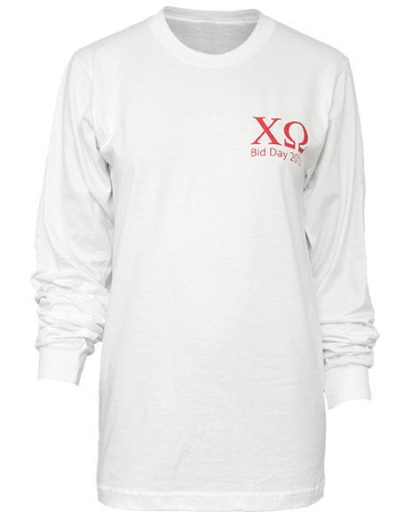 Chi Omega Skull Bow Long Sleeve-Adam Block Design