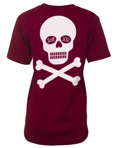 Chi Omega Skull & Crossbones V-Neck-gallery-Adam Block Design