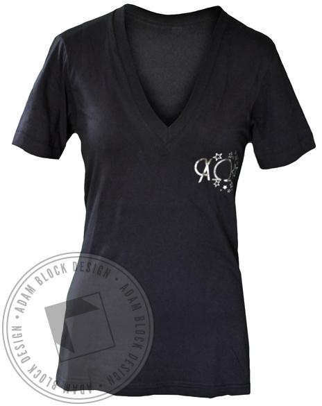 Chi Omega Stars V-Neck-gallery-Adam Block Design