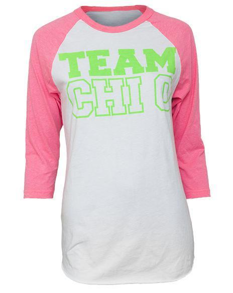 Chi Omega Team Chi O Baseball Tee-Adam Block Design