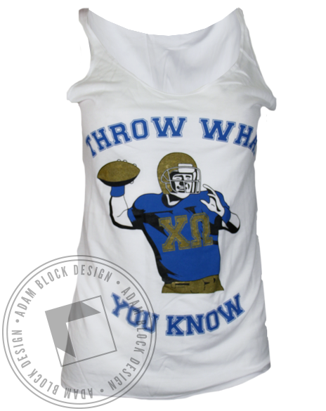 Chi Omega Throw What You Know Football Tank Top-Adam Block Design