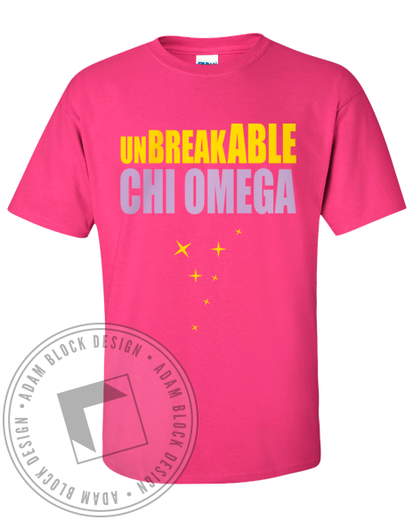 Chi Omega Unbreakable Kimmy Tshirt-Adam Block Design