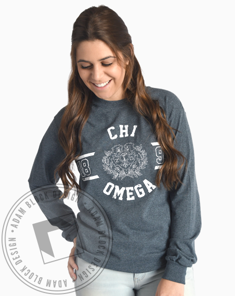 Chi Omega Vintage Crest Long Sleeve-Adam Block Design
