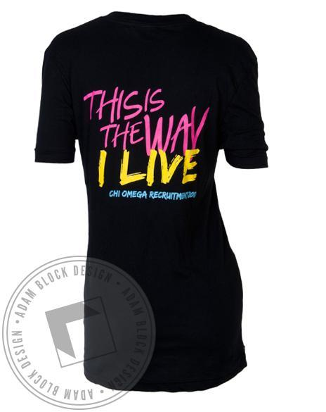 Chi Omega Way I Live Recruitment V-Neck-Adam Block Design