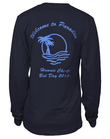 Chi Omega Welcome To Paradise Bid Day Longsleeve-Adam Block Design