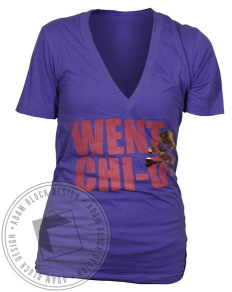 Chi Omega Went Chi O V-Neck-gallery-Adam Block Design