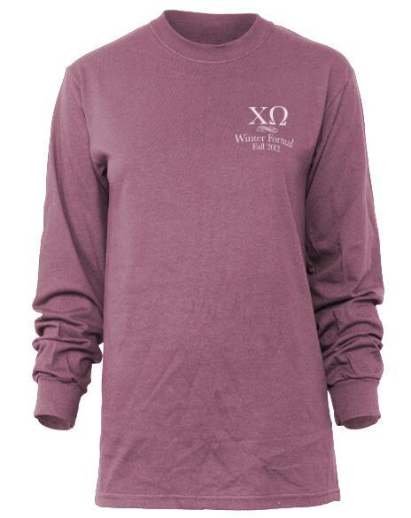 Chi Omega Winter Formal Long Sleeve Tee-Adam Block Design
