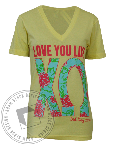 Chi Omega Yellow Bid Day V-Neck-gallery-Adam Block Design
